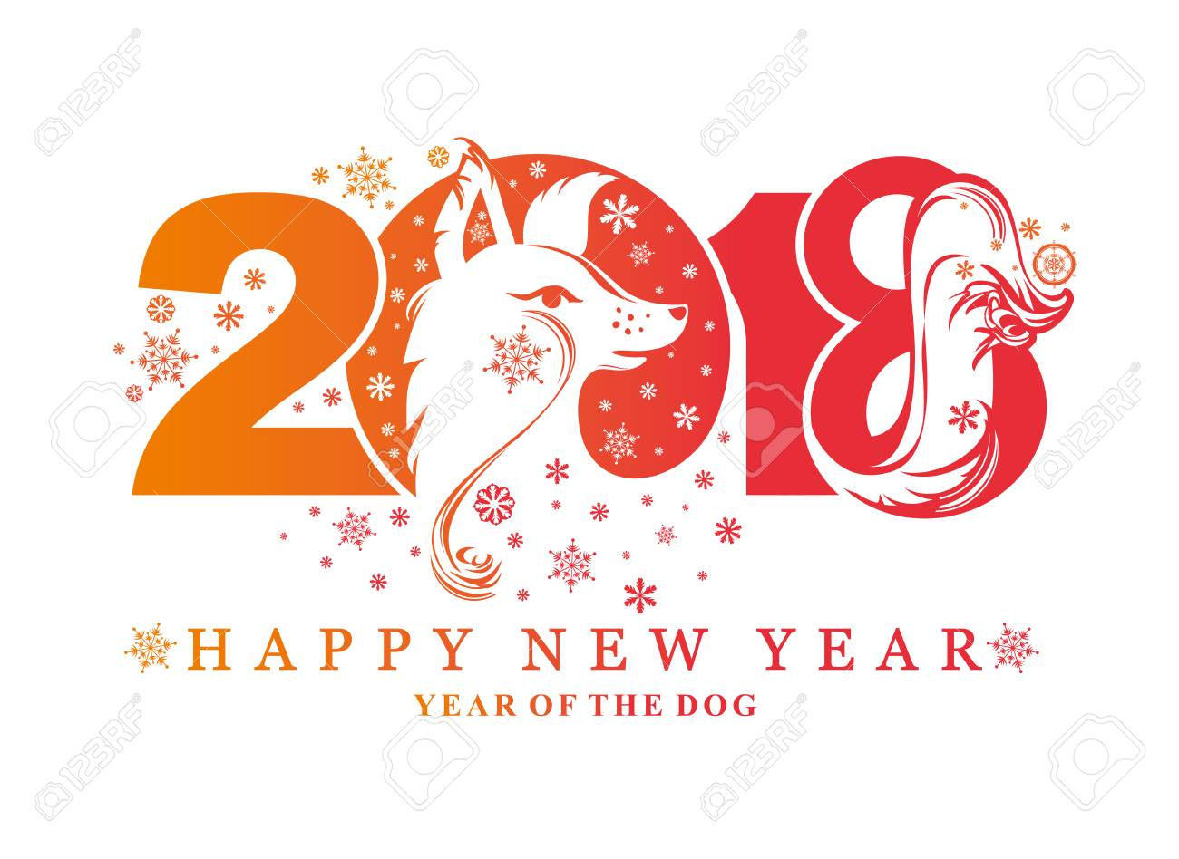 Dog Symbol Of 2018 On The Chinese Calendar Vector Element For