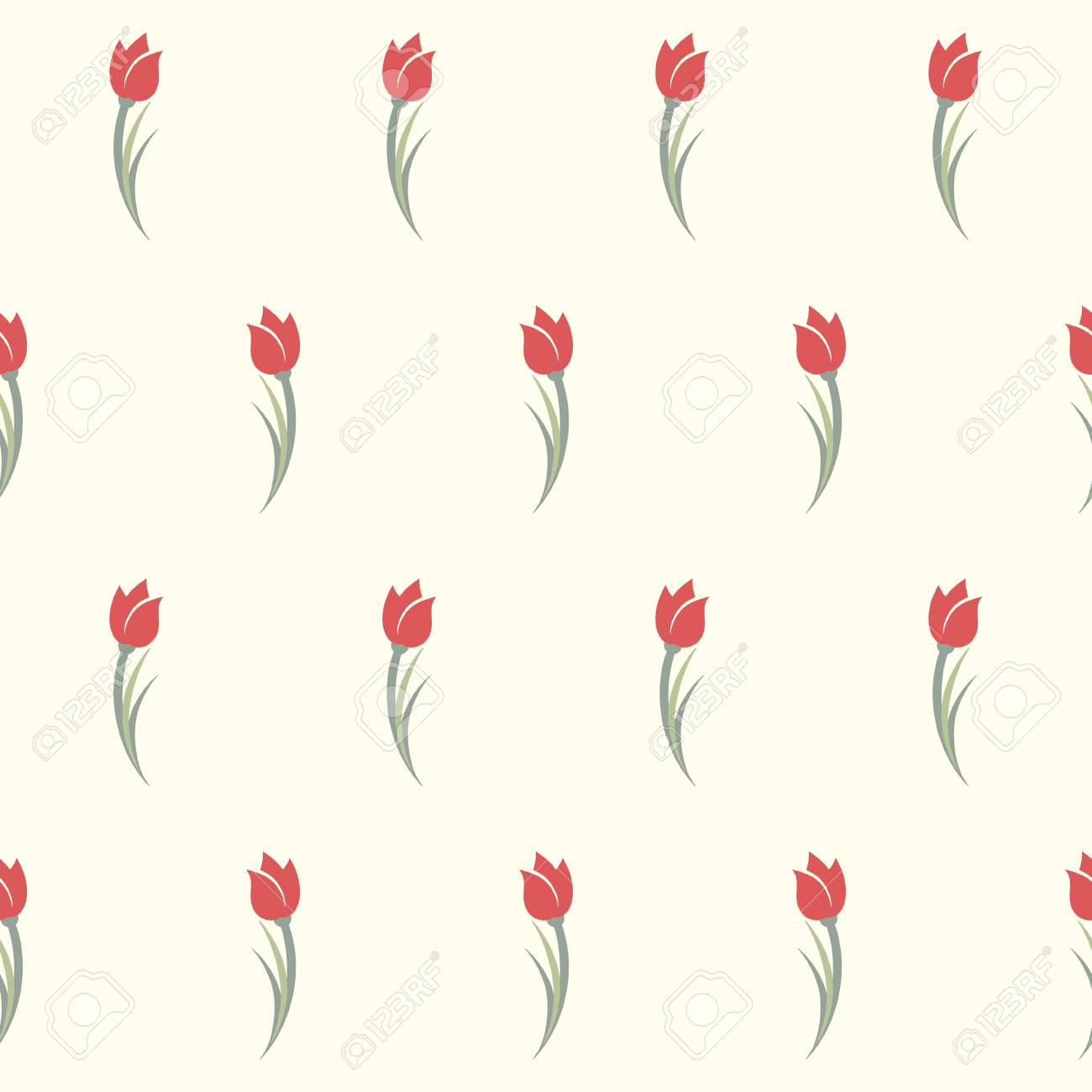 Tulips Seamless Pattern Cute Simple Background With Red Tulips Royalty Free Cliparts Vectors And Stock Illustration Image 92686548