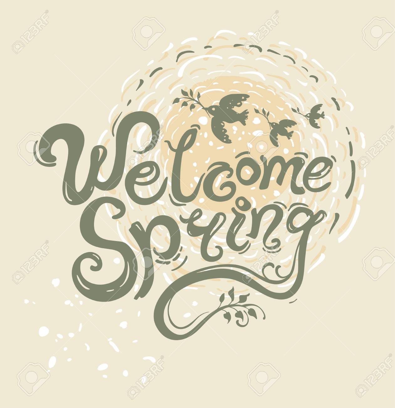 Welcome spring handwriting lettering design greeting card vector welcome spring handwriting lettering design greeting card vector illustration with inscription and birds with twigs kristyandbryce Choice Image