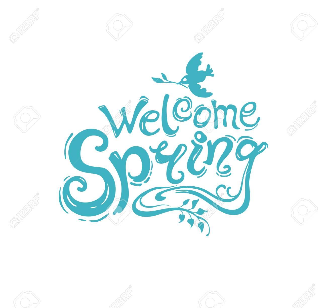 Bienvenido Primavera Plantilla De Turquesa De Escritura Con La ...