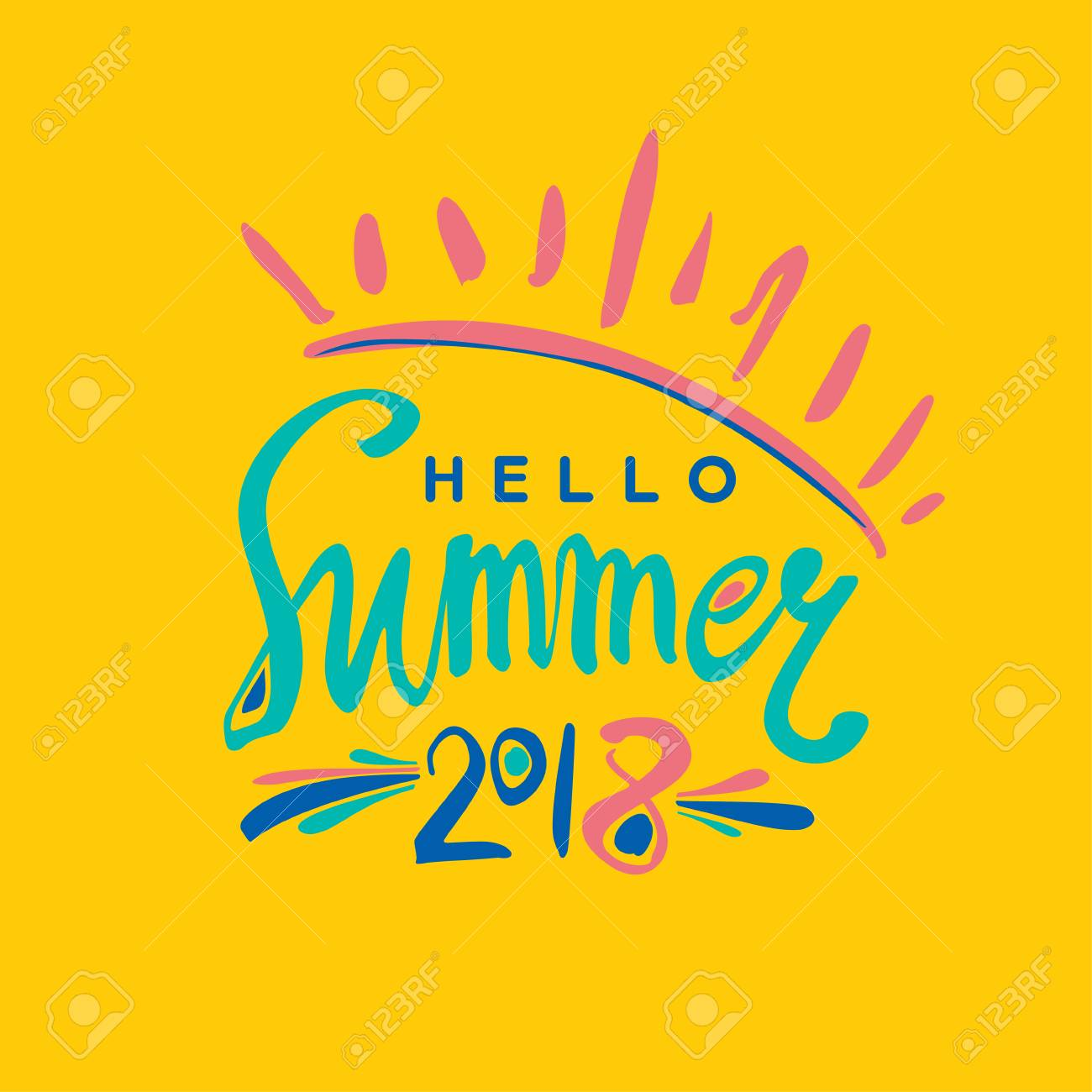 Good Bright Card Hello Summer 2018 Calligraphy On Yellow Background. Stock  Vector   93750626
