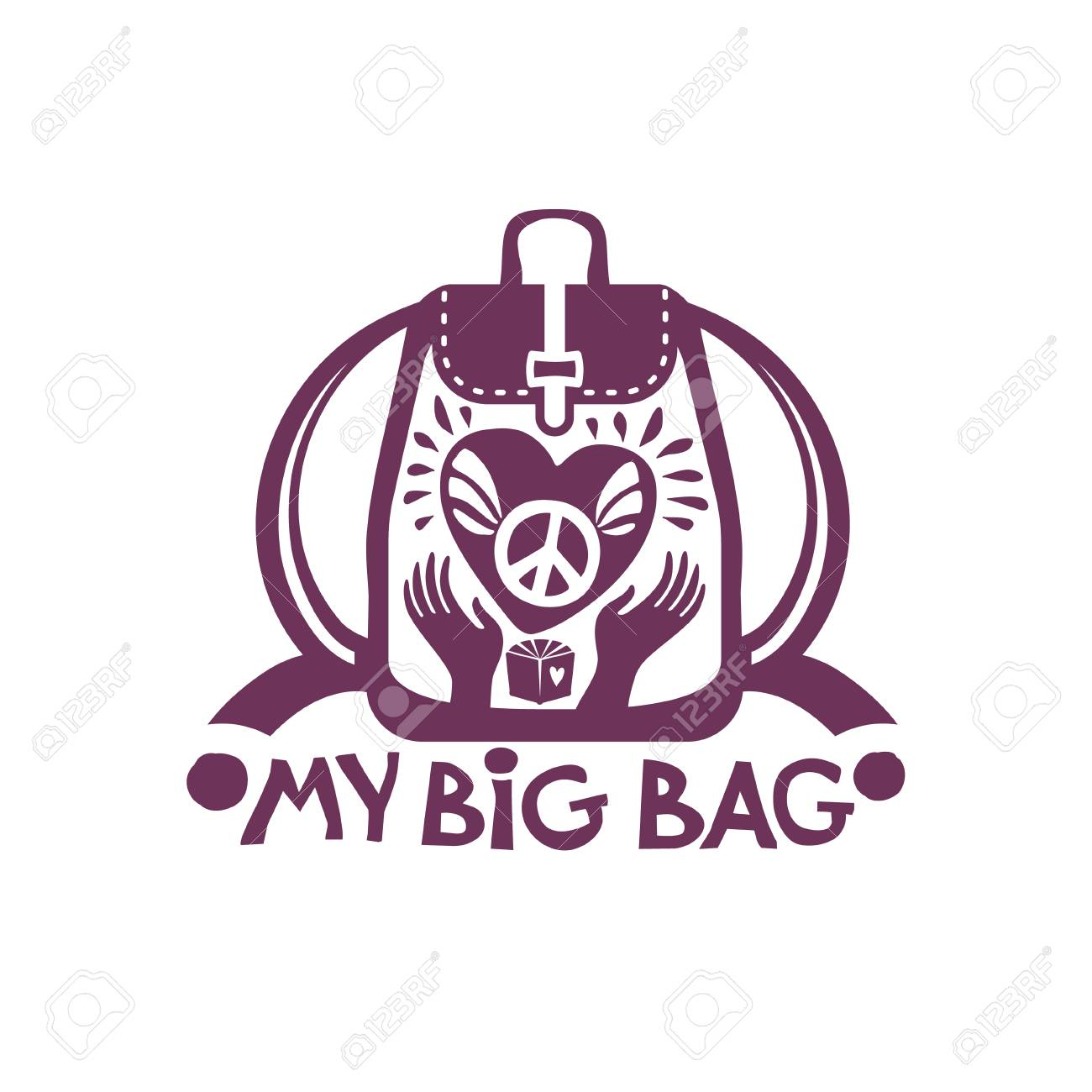 My Big Bag Vector Backpack With A Big Heart And A Symbol Of