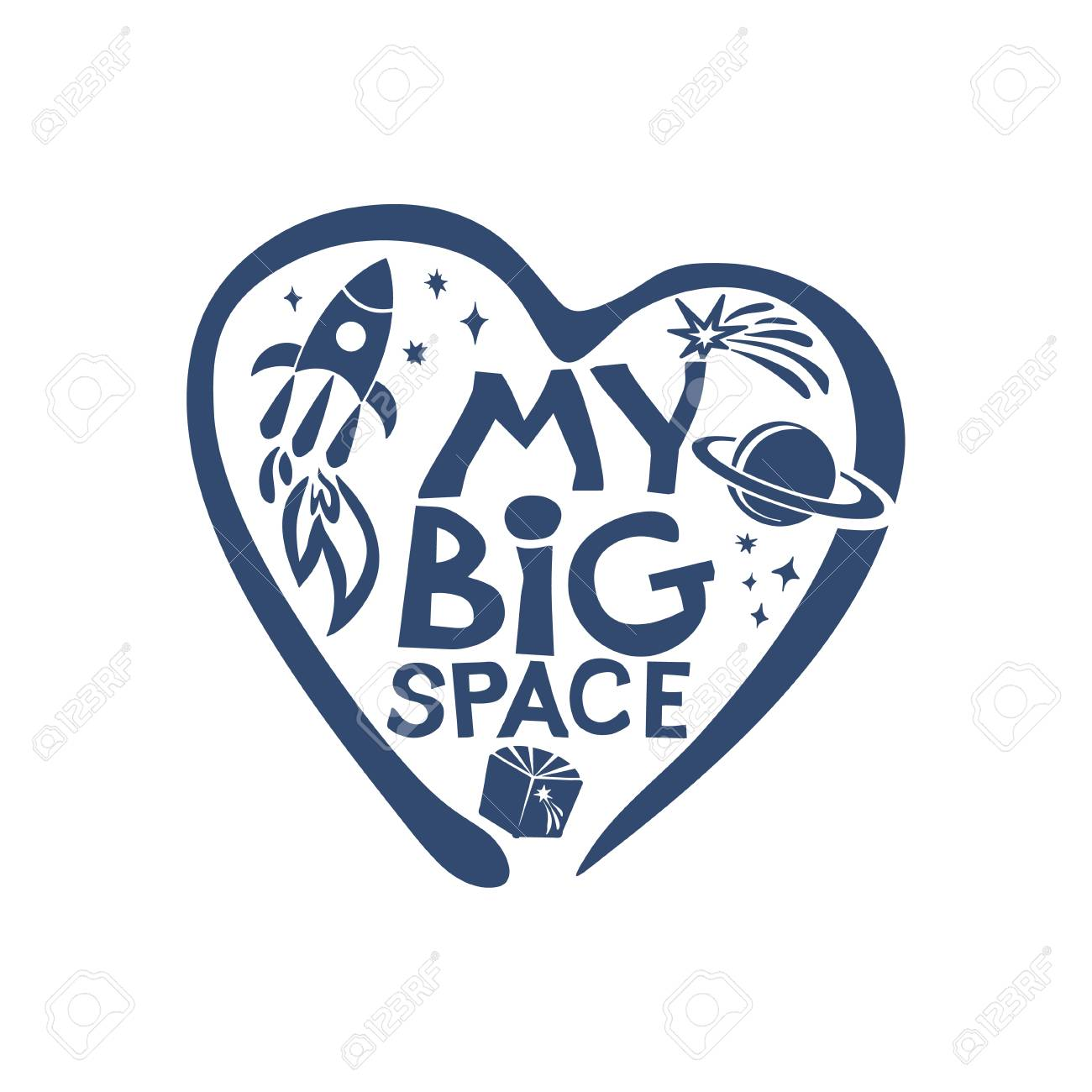 My Big Space Love Cosmos Flat Graphic Symbol Of The Dream Of