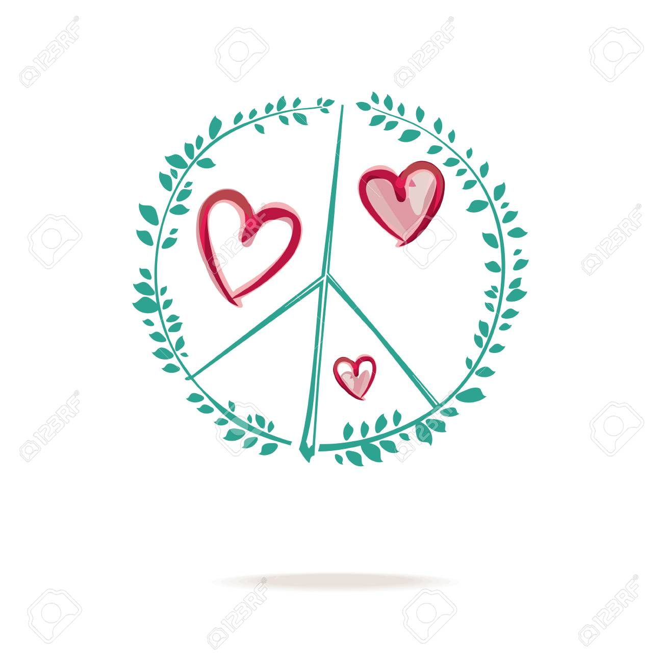 Symbol of peace  Peace sign drawing consists of sprigs with green