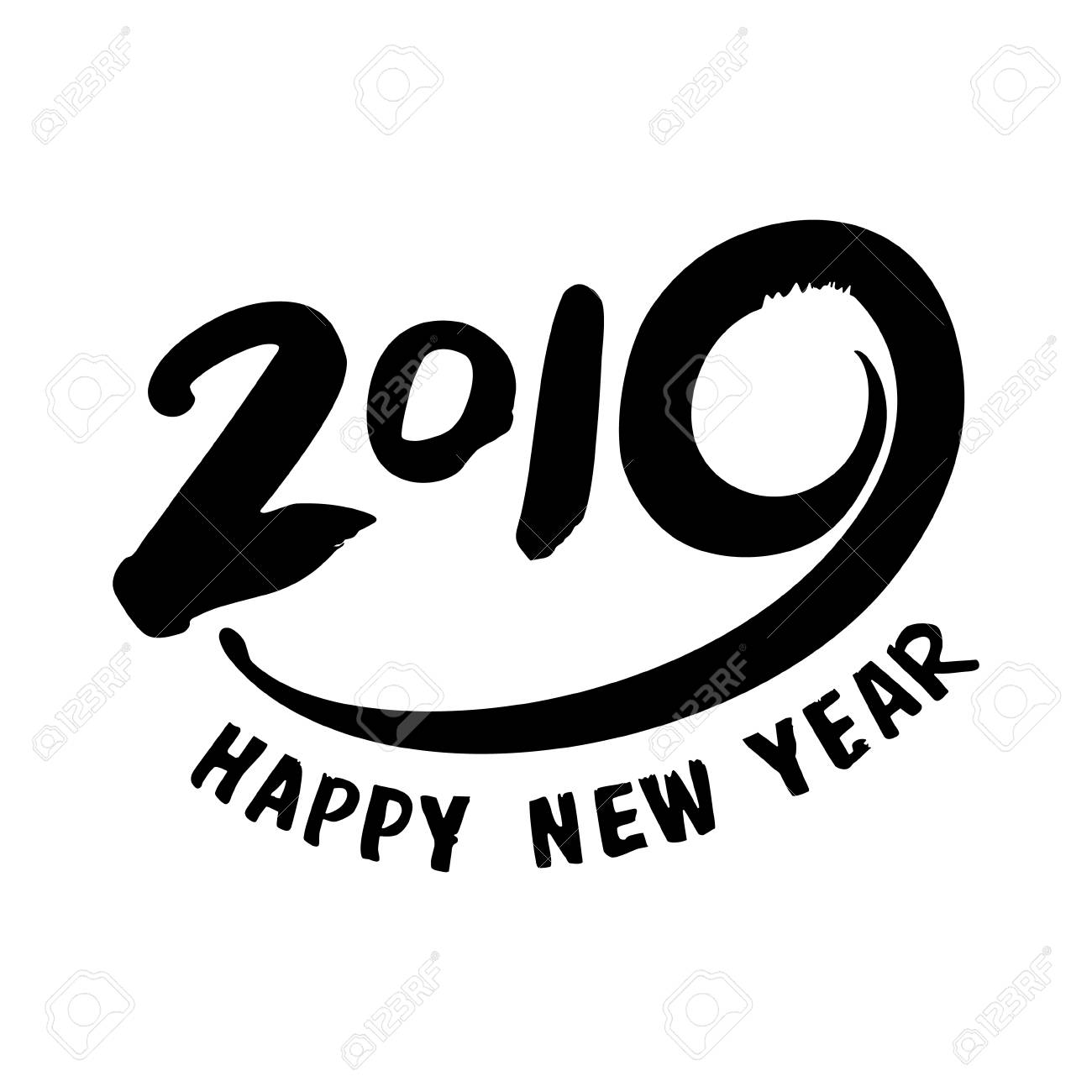 design template with calligraphy for 2019 happy new year black