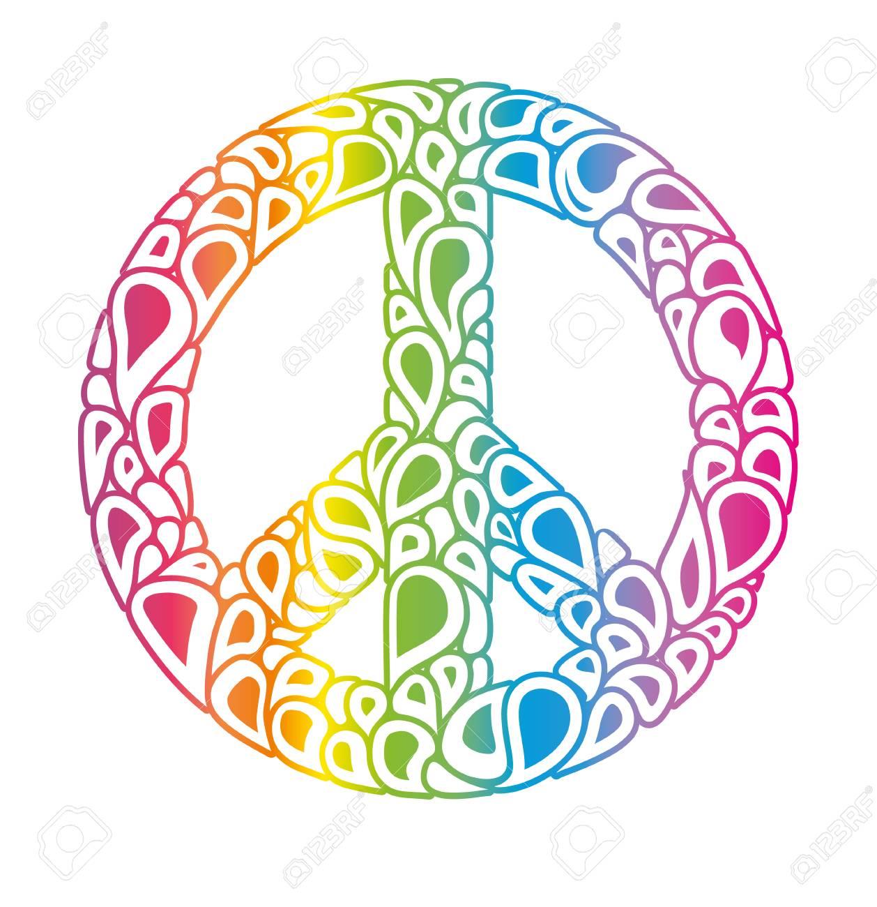 Symbol of peace  Peace sign consists of rainbow bubbles drops
