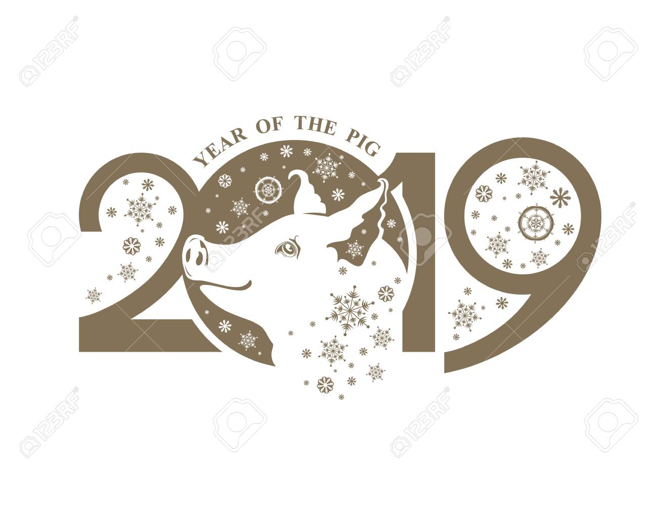 year of the pig 2019 cute piglet and snowflakes flat illustration