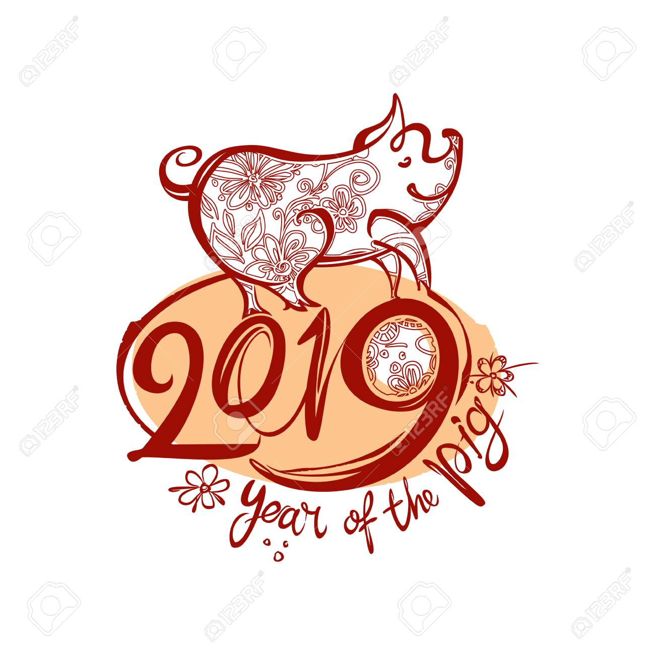 Happy New Year 2019  Year of the Earth Pig on the Chinese Calendar