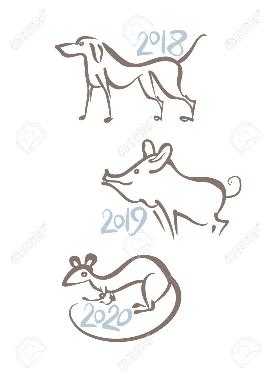Dog 2018  Pig 2019  Rat 2020  Symbols of the years on the Chinese