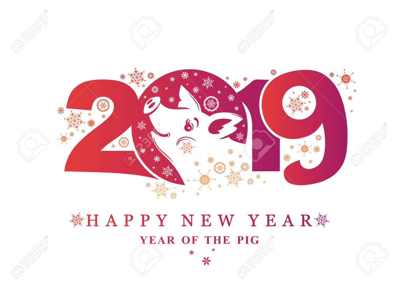 vector year of the pig 2019 new year card with a purple pattern 2019 and smiling pig and snowflakes vector new years calendar