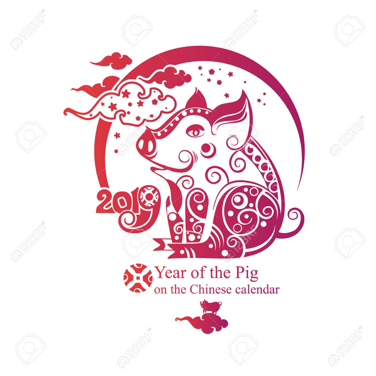 Chinese Zodiac Sign Pig 2019  Happy Chinese New Year 2019 year