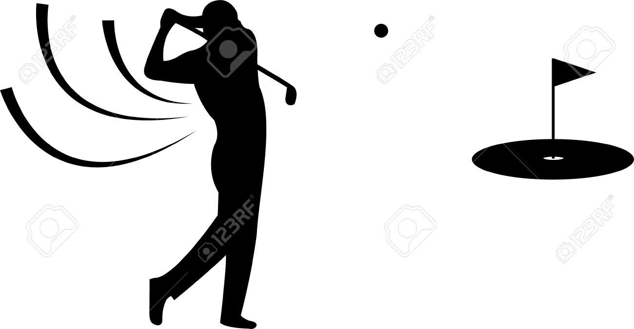 Black Golfer Silhouette Auf Weissen Hintergrund Lizenzfreie Fotos