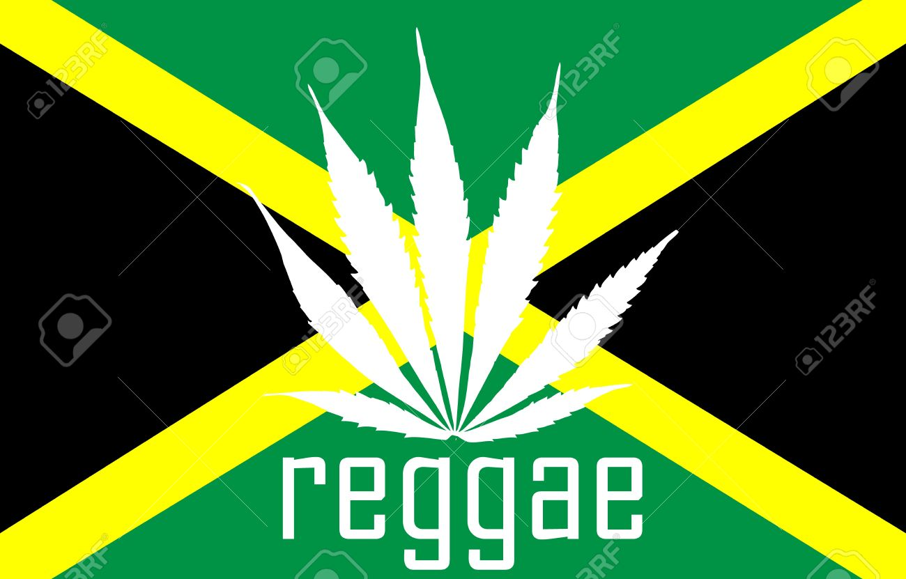 Jamaican reggae flag with marihuana leaf and tag Stock Photo - 13456335