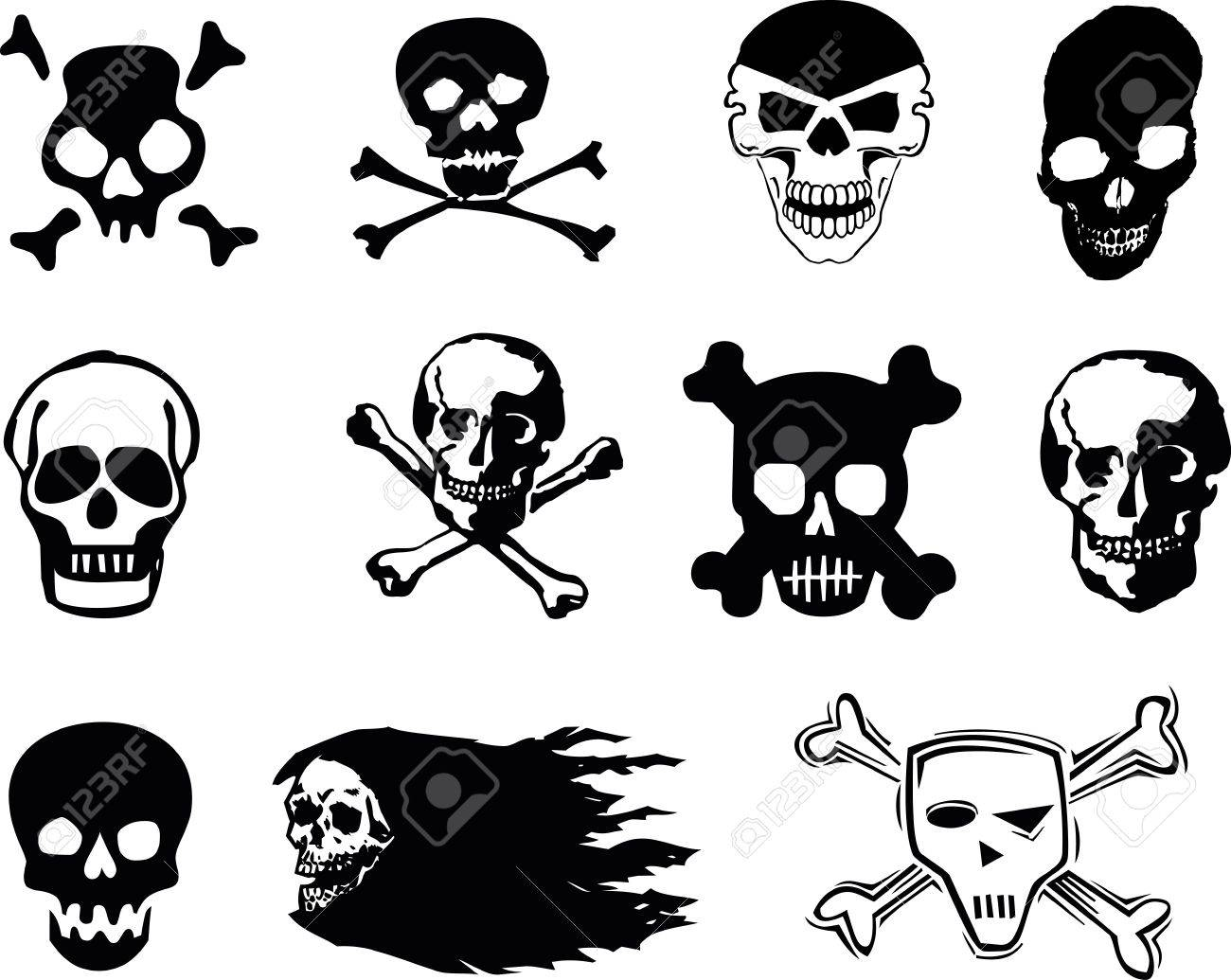 Black skulls on white background Stock Photo - 13456860