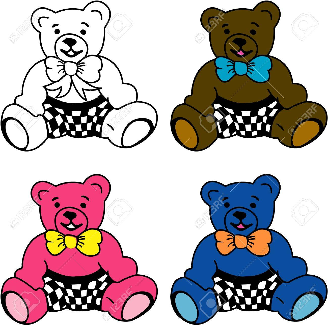 four tedy colour bear on white background stock photo picture and