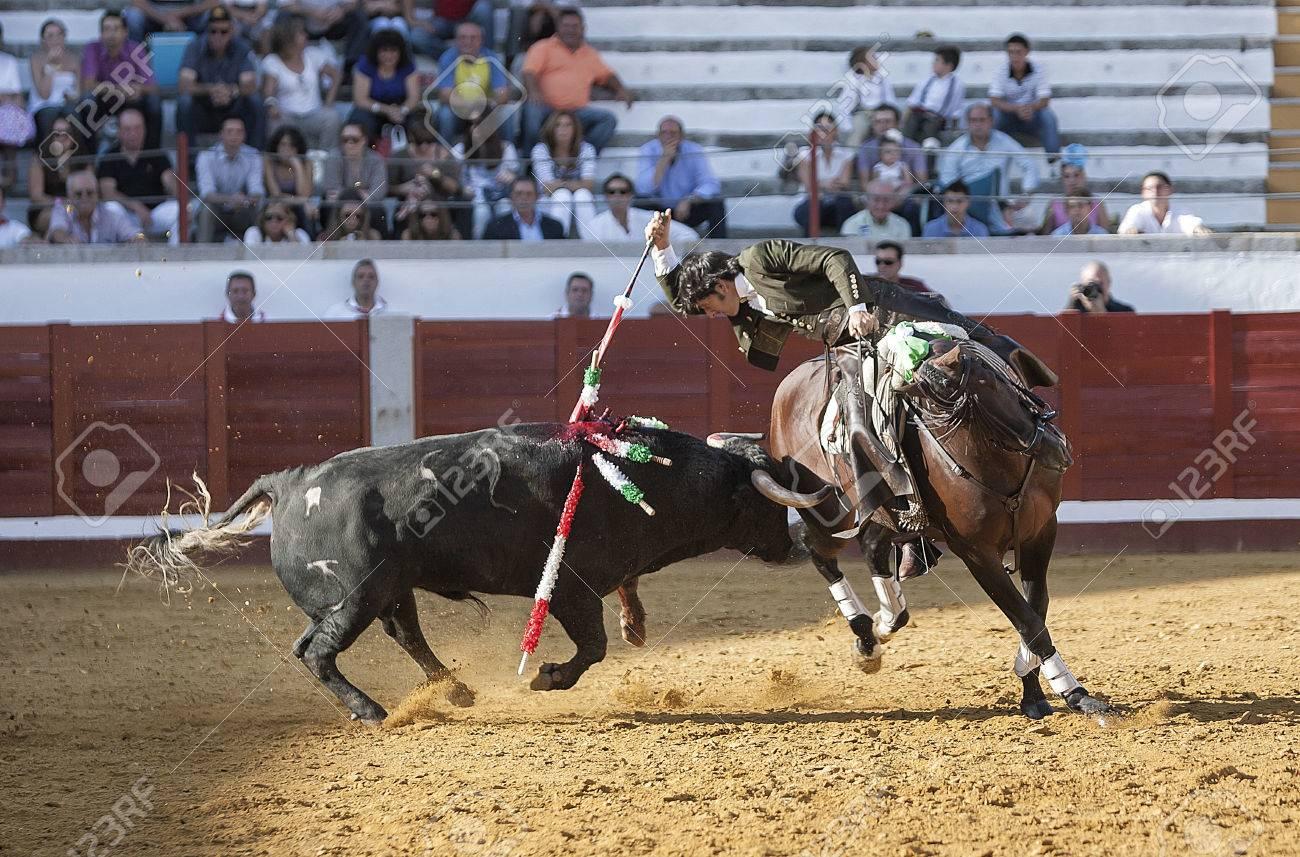 photo  pozoblanco province de cordoue espagne septembre torero espagnol a cheval diego ventura tau