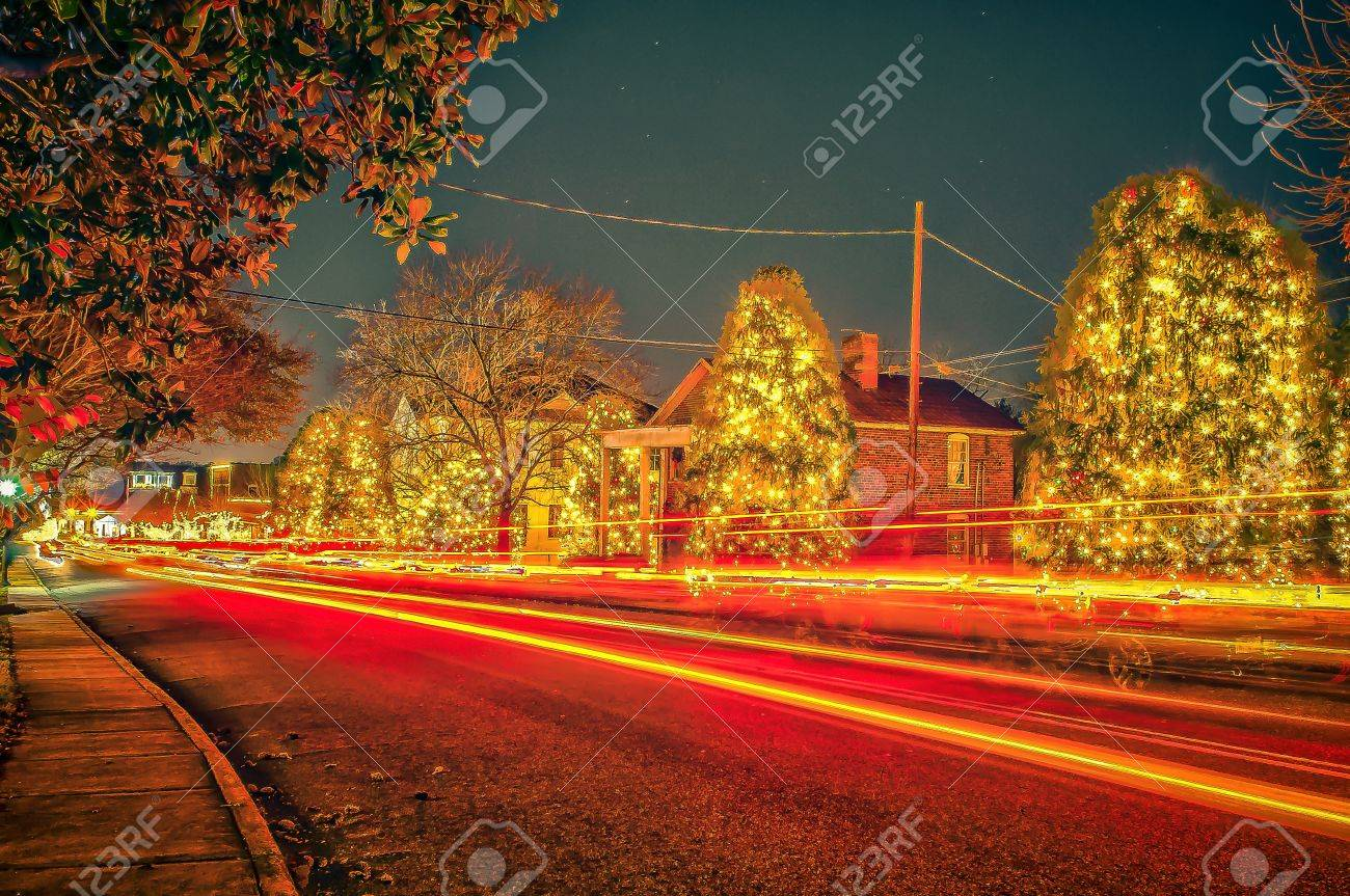 Mcadenville Christmas Lights.Traffic Lights And Light Trails During Busy Christmas Holiday