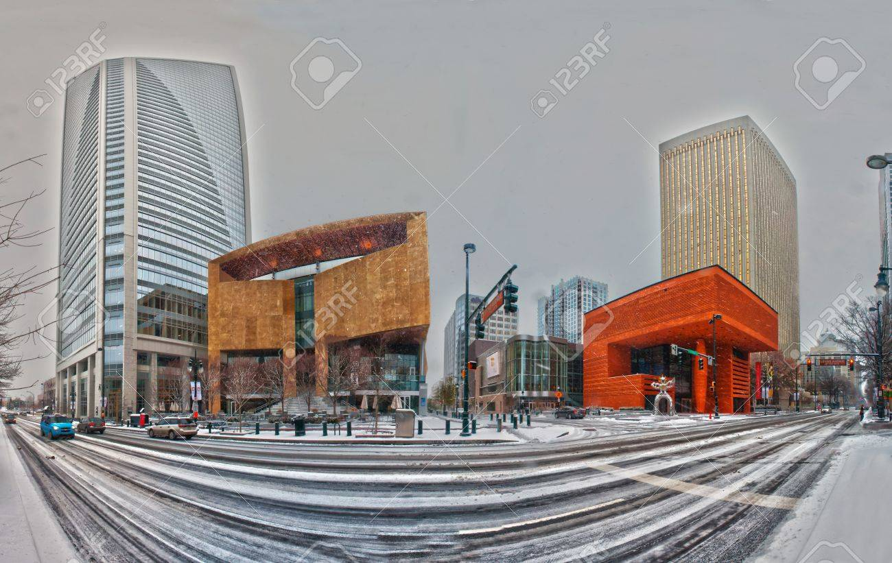 Charlotte skyline in snow and mint museum on left Stock Photo - 15621729