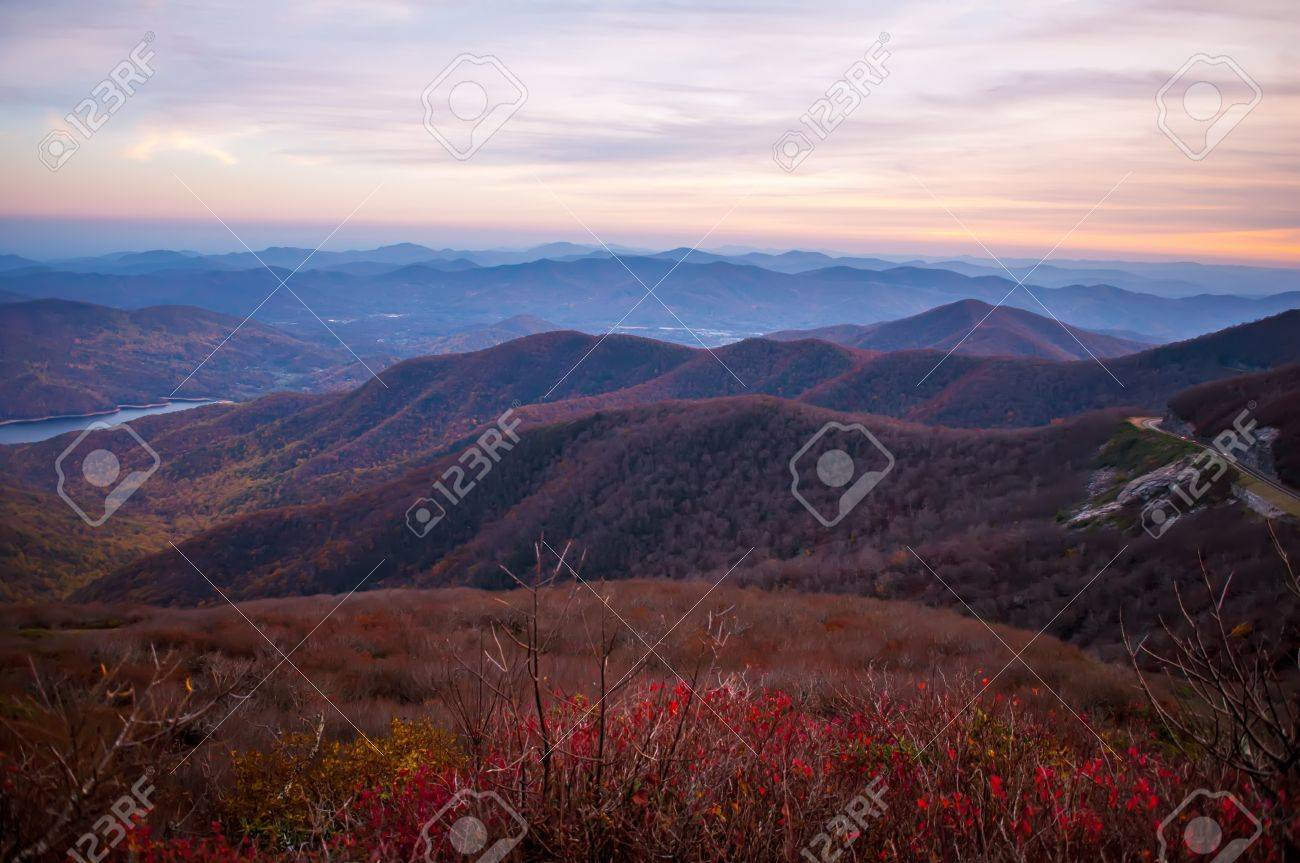View of the Blue Ridge Mountains during fall season from parkway Stock Photo - 17272724
