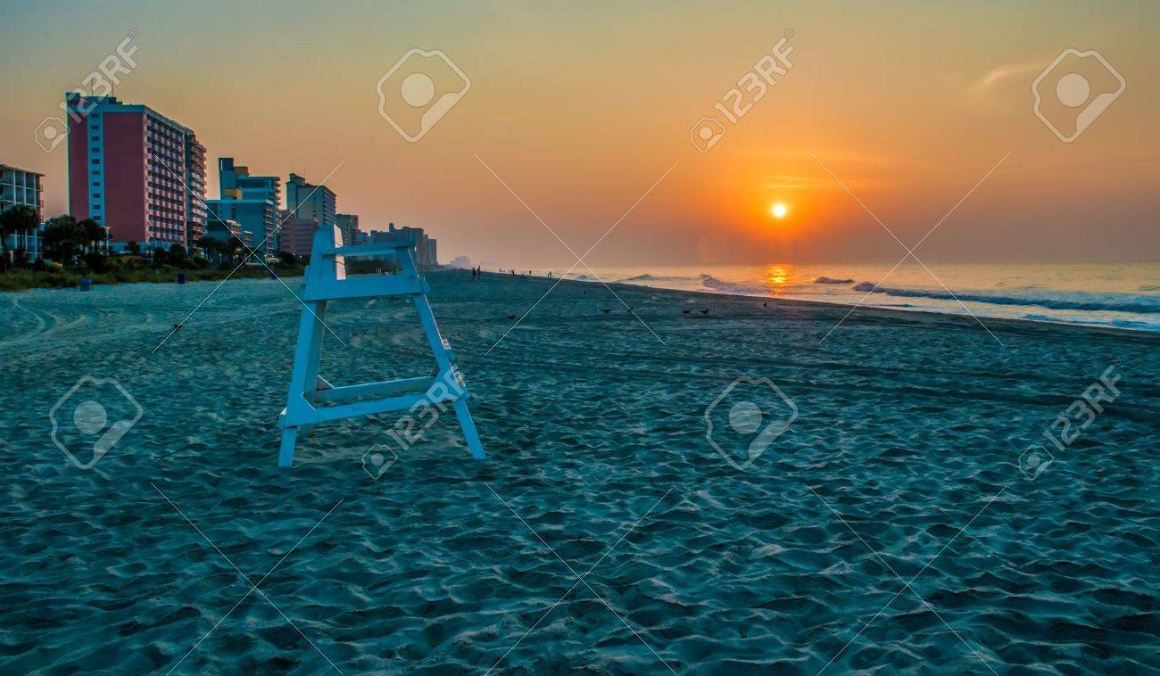 Morning Beach Scenes At Myrtle South Carolina Stock Photo