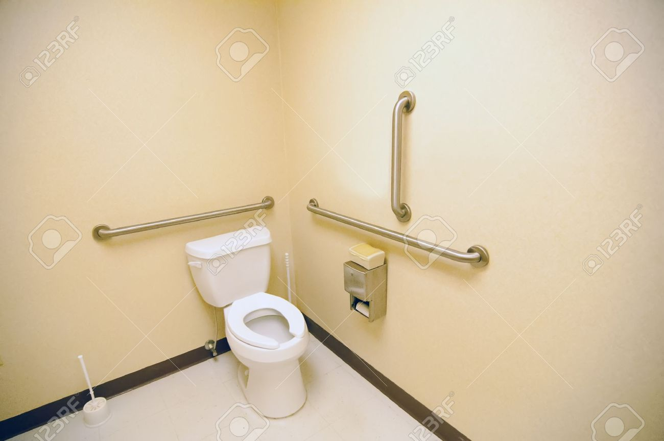 Ada Clean Public Toilet With Grab Bars For Handicapped Stock Photo ...