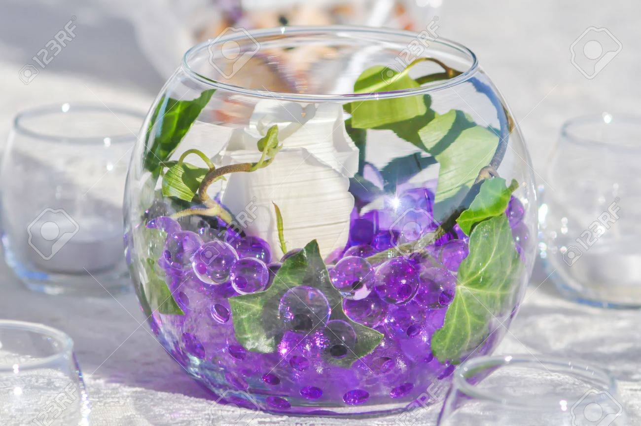 Wedding table decor with purple marbles and white rose stock photo wedding table decor with purple marbles and white rose stock photo 22726732 reviewsmspy