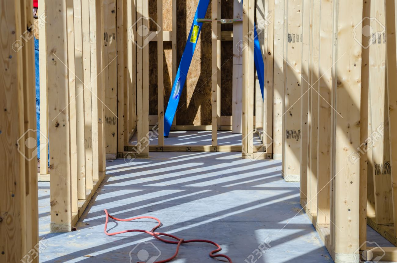wood stud wall frame construction Stock Photo - 22911046