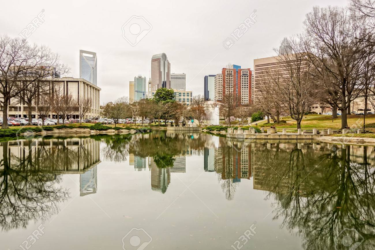 Overcast Weather Over Charlotte Nc Skyline Stock Photo Picture And