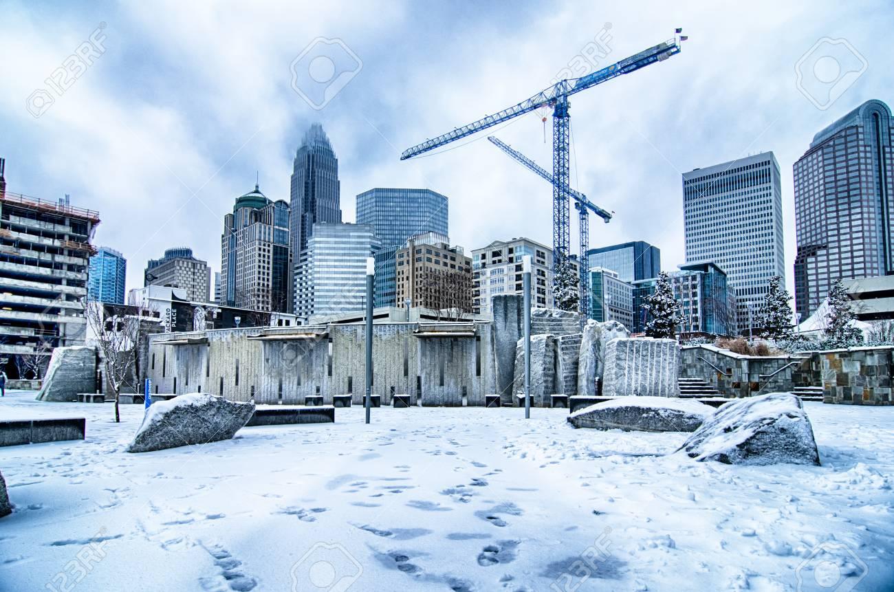 Rare Winter Weather In Charlotte North Carolina Stock Photo Picture