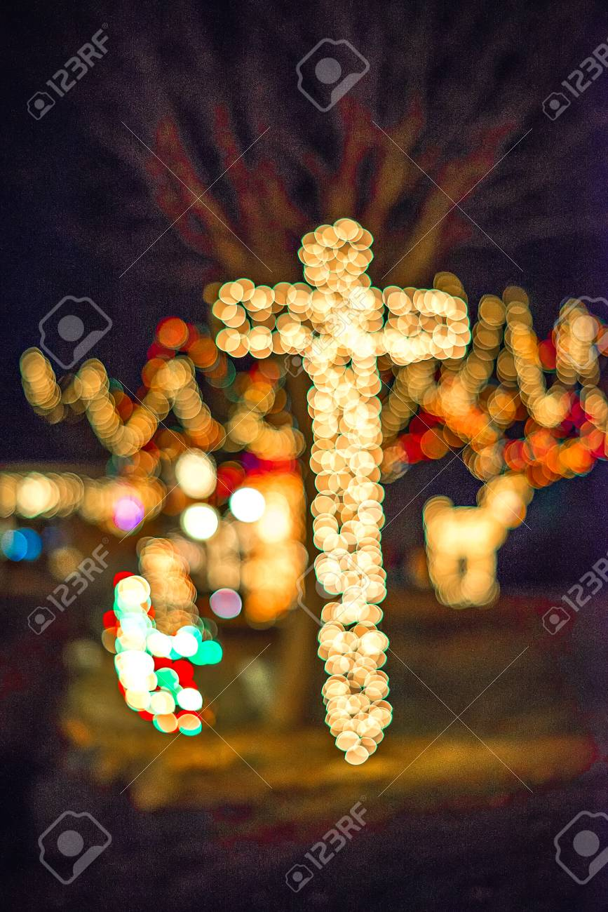 outdoor christmas decorations at christmas town usa stock photo 71839013