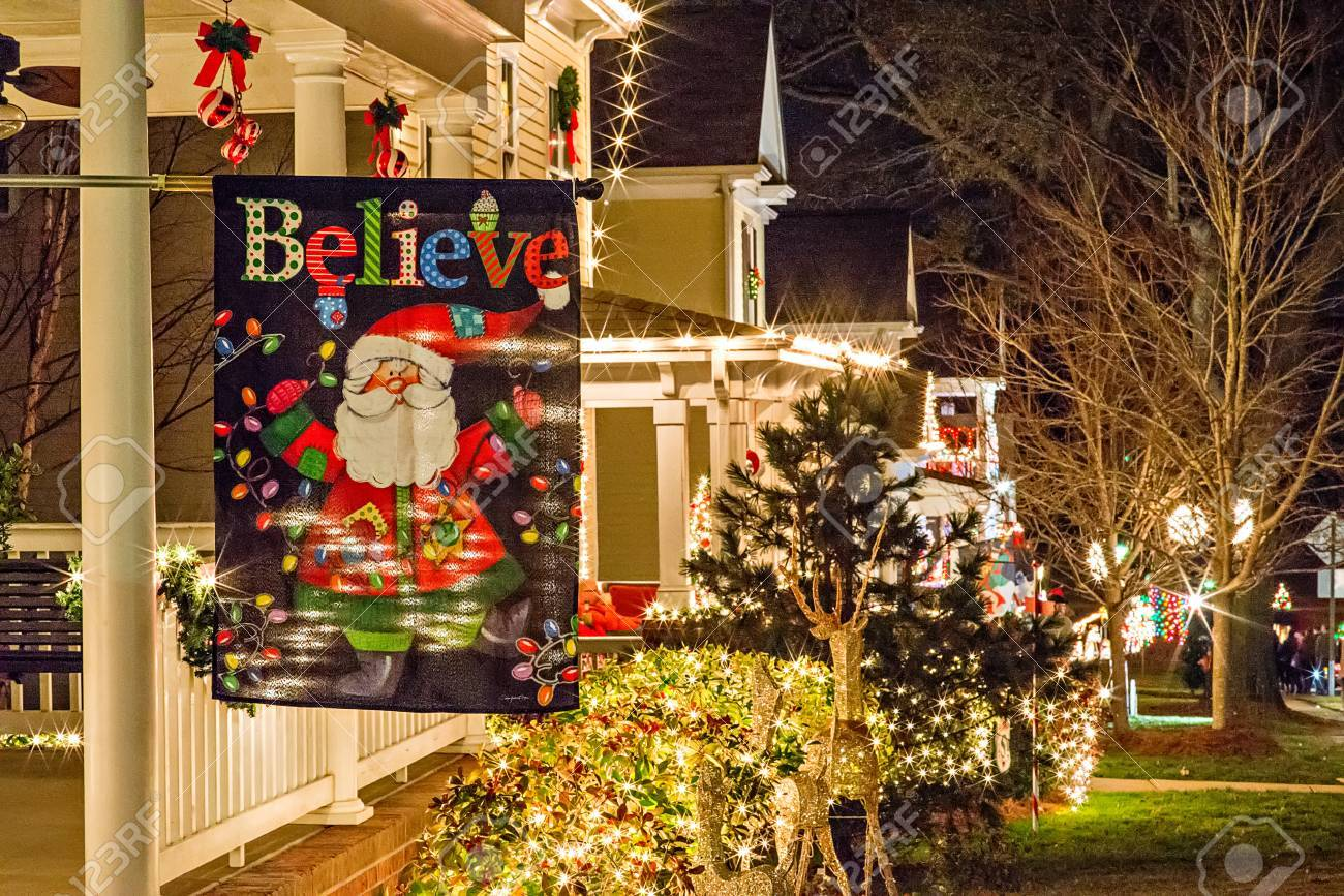 outdoor christmas decorations at christmas town usa stock photo 73393424