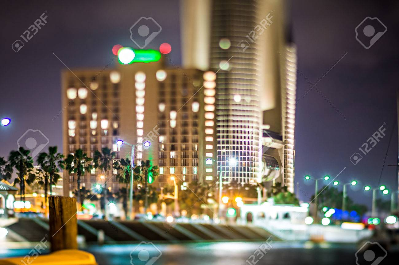 Night Scenes Around Corpus Christi Texas Downtown Stock Photo ...
