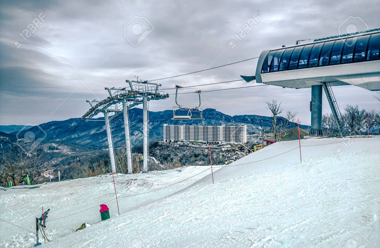 north carolina sugar mountain skiing resort destination stock photo