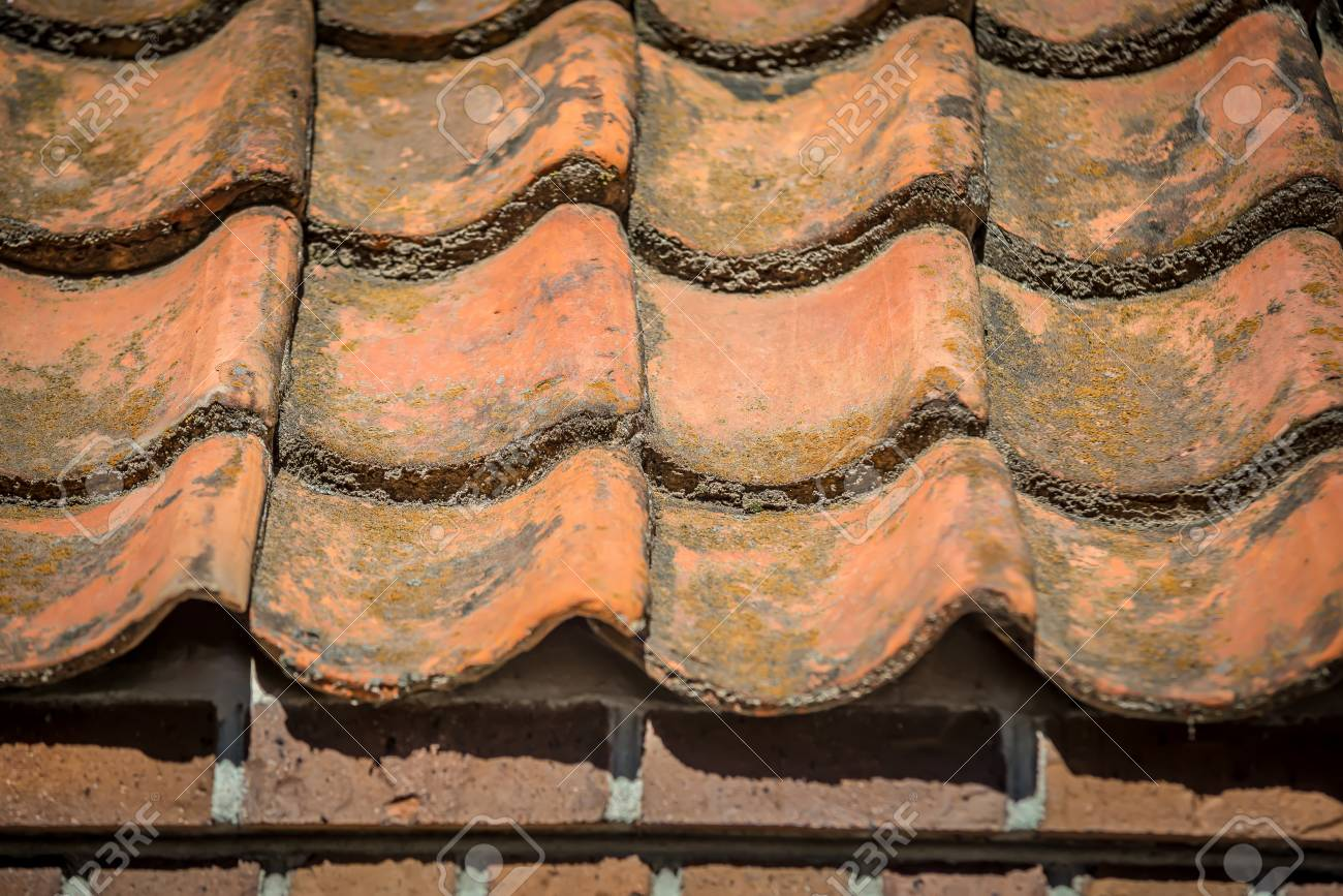 Orange Color Spanish Shingle Clay Roof Tile Stock Photo Picture And