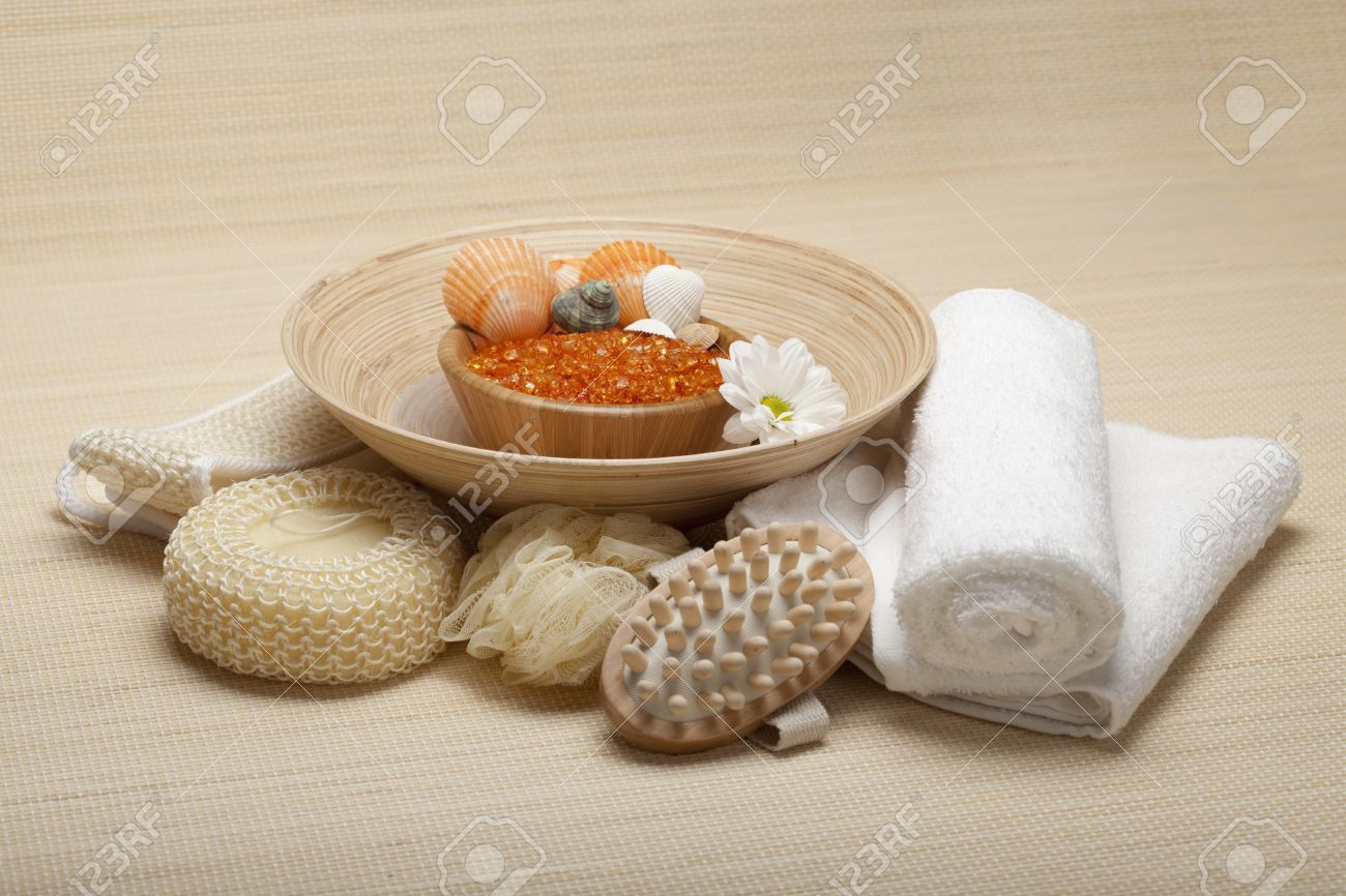 Spa Supplies - Lavender Salt Stock Photo - Image: 18255020