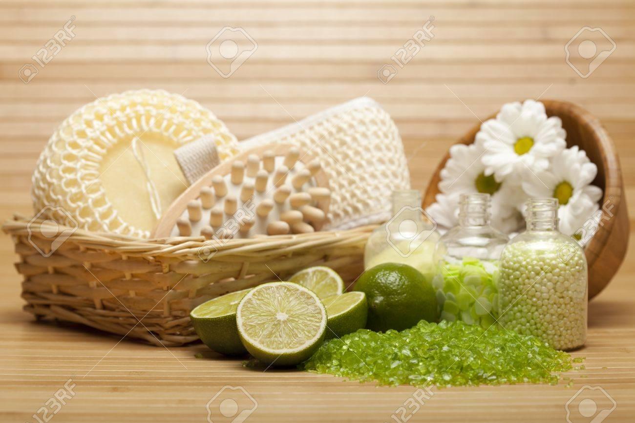 Spa Supplies - Bath Salt And Massage Tools Stock Images - Image ...