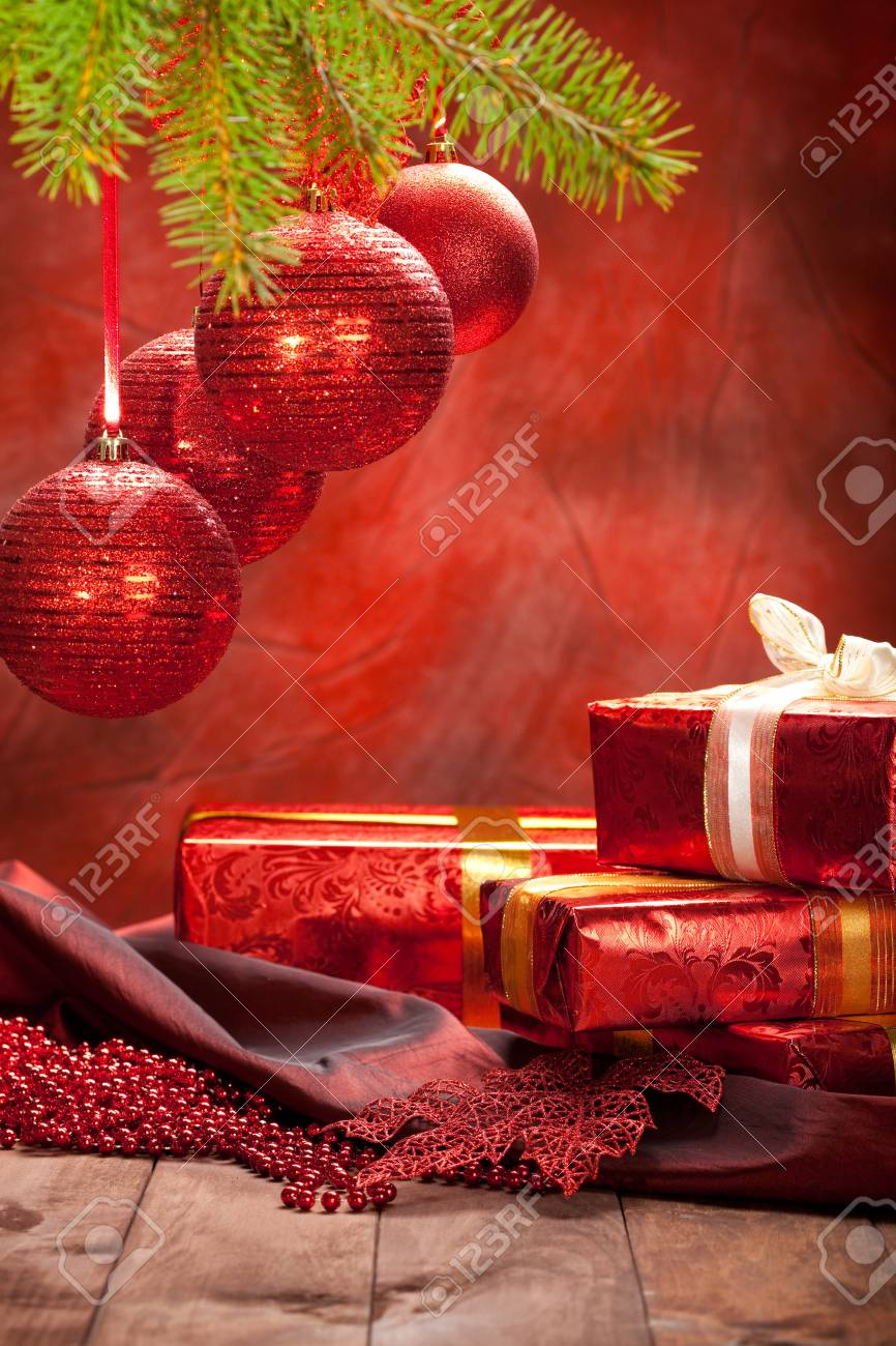 Christmas Gifts And Red Baubles Stock Photo, Picture And Royalty ...
