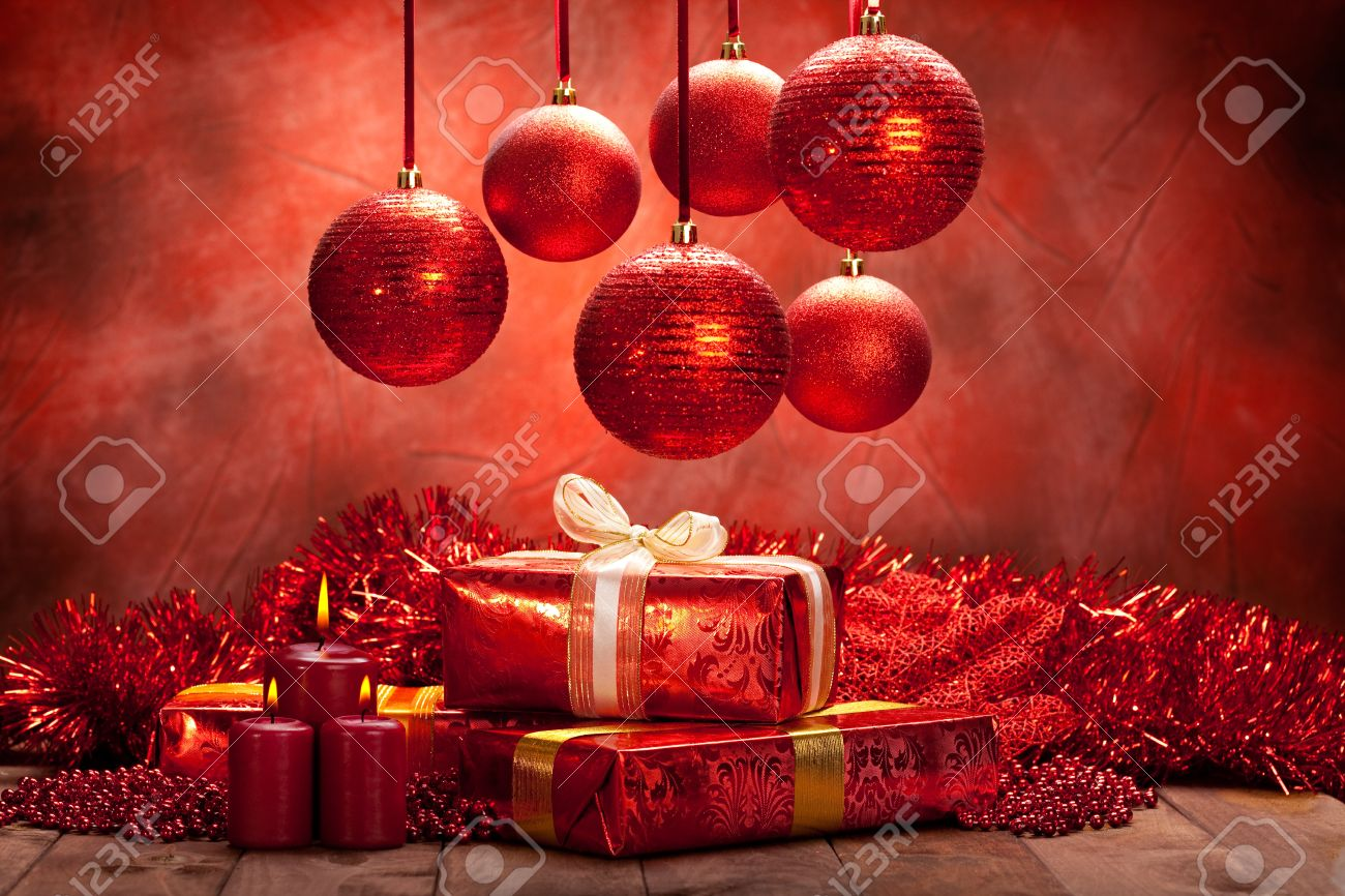 Christmas Background Balls Candles And Gifts Stock Photo