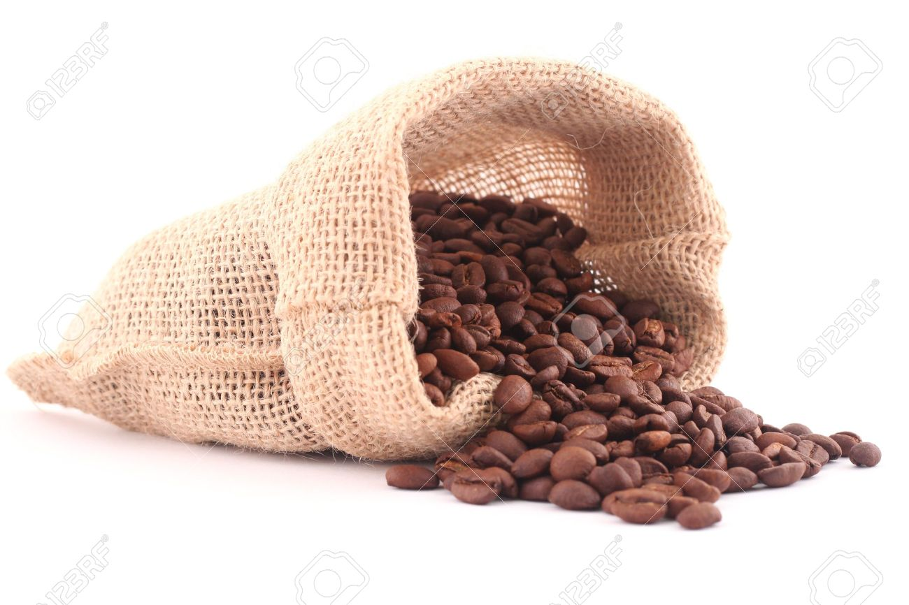 Grains of coffee and coffee canvas bag isolated on white Stock Photo - 10608230