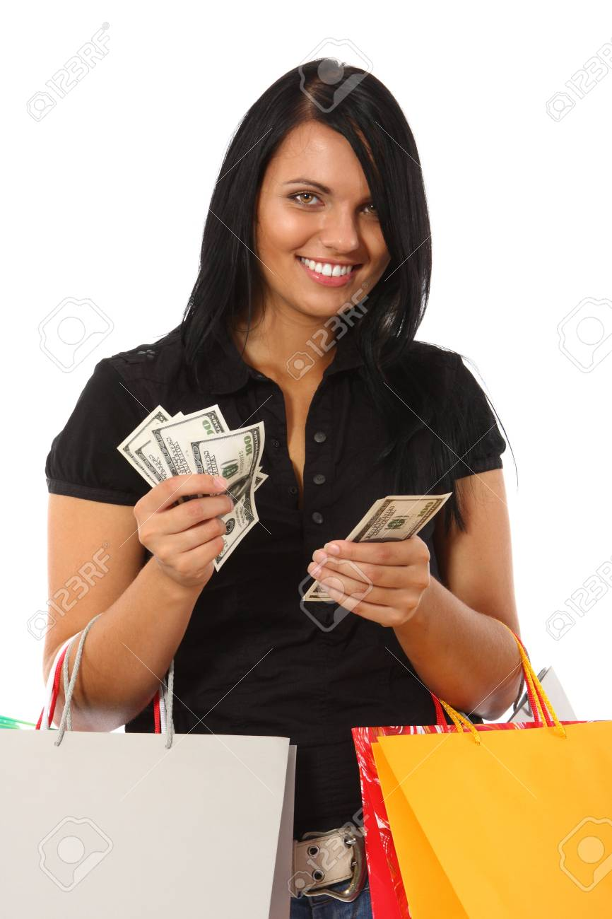 Young woman with money and shopping bags Stock Photo - 10607996