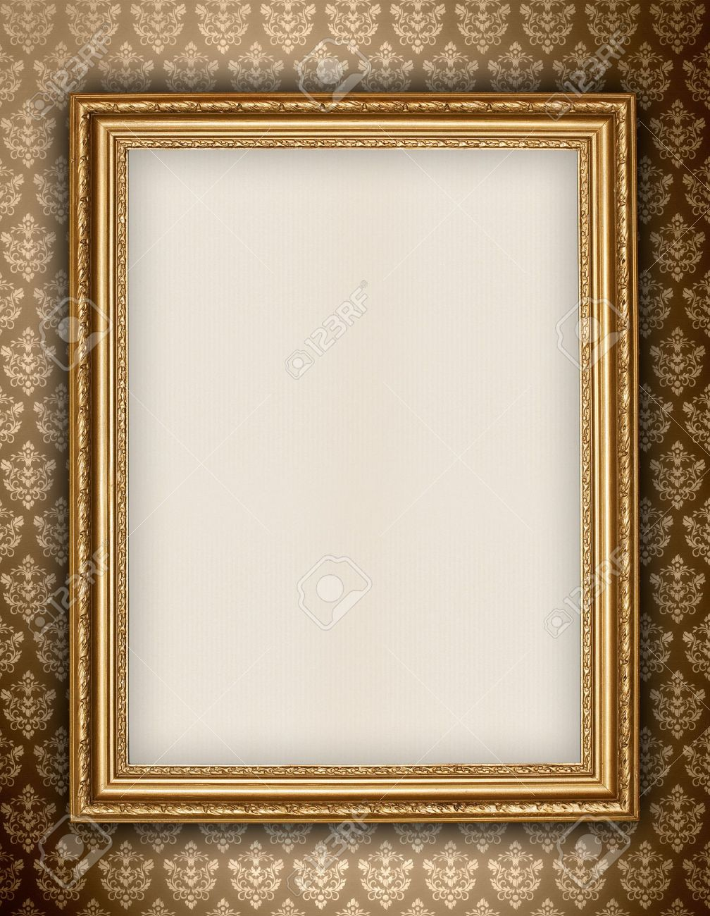 Golden frame on wallpaper background stock photo picture and golden frame on wallpaper background stock photo 10676691 voltagebd Image collections
