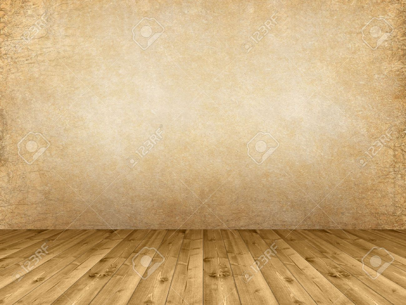 Interior background - wooden floor and grunge wall Stock Photo - 12638429
