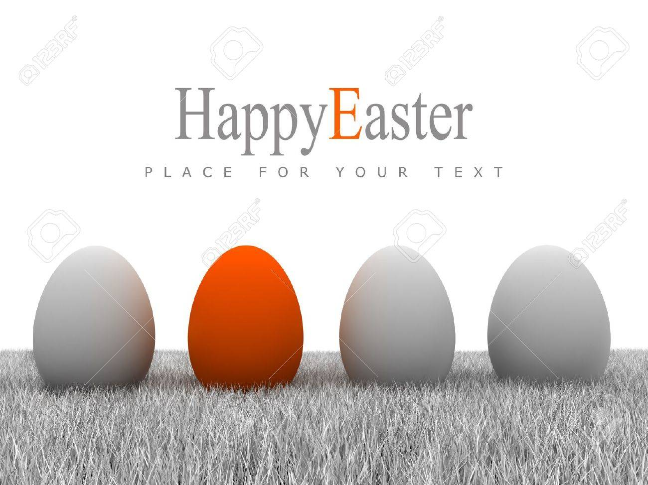 Easter eggs on gray grass and white background Stock Photo - 12638418