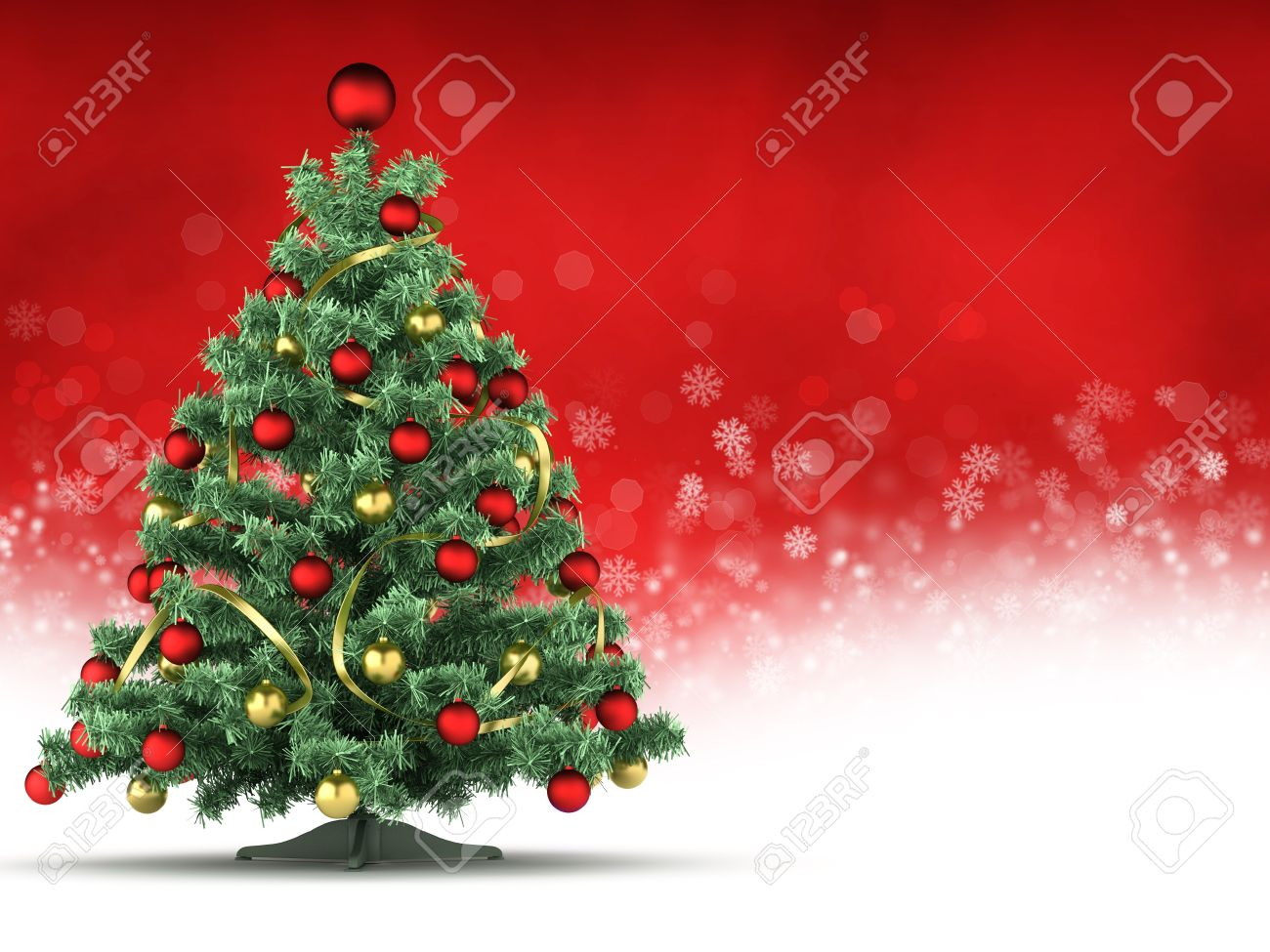 Christmas Card Template.Christmas Card Template Xmas Tree On Red And White Background