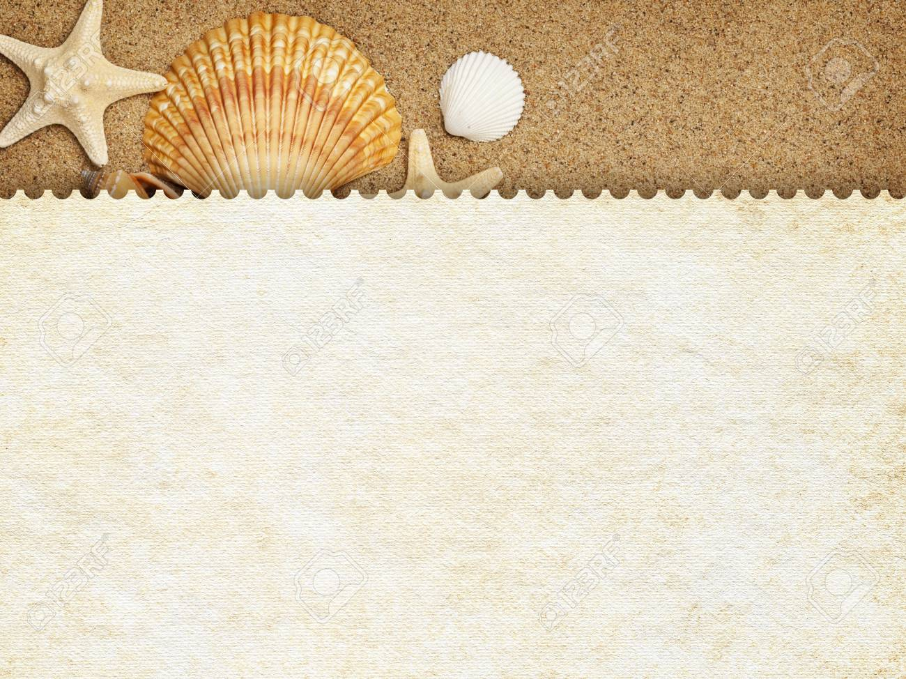Summer background - blank paper sheet on sand Stock Photo - 18541253