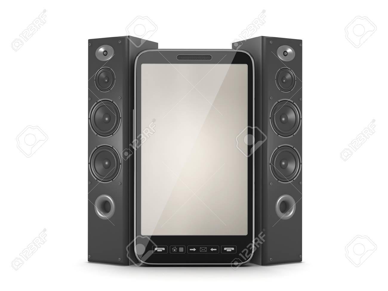 Musical Säulen Und Handy Auf Weißem Hintergrund Lizenzfreie Fotos ...