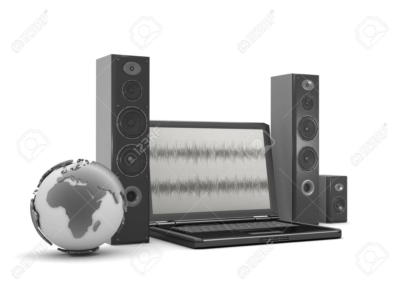 Earth globe, laptop with audio diagram on screen and speakers Stock Photo - 26092874