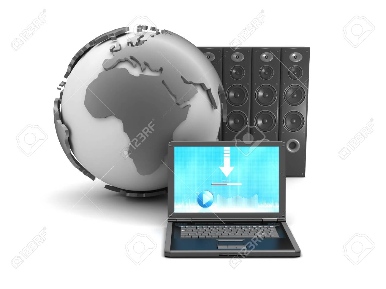 Earth globe, laptop and large sound system on white background Stock Photo - 26092878