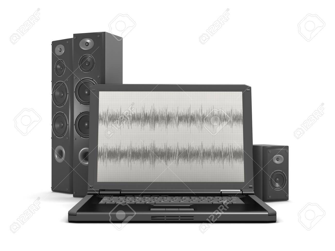 Laptop With Audio Diagram On Screen And Sound System Stock Photo ...