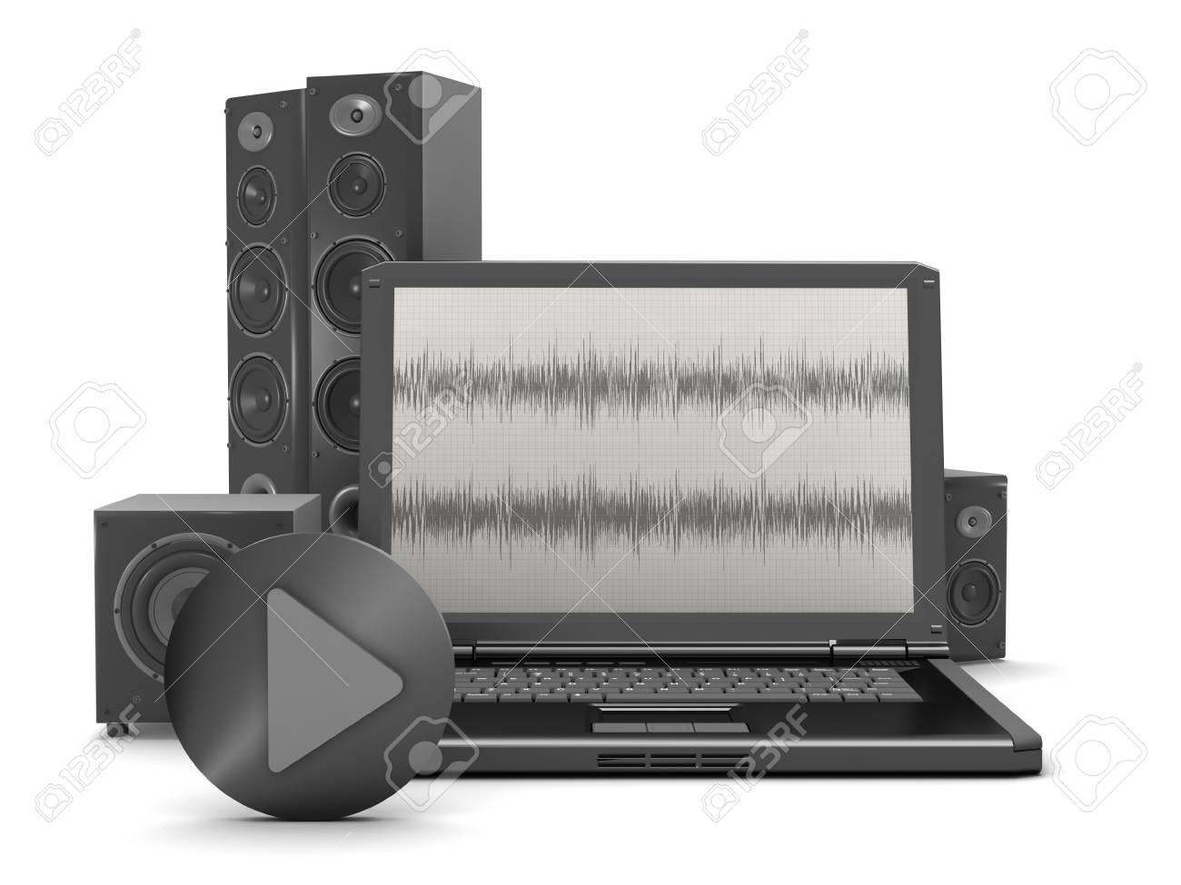 Laptop With Audio Diagram On Screen And Home Theatre System Stock ...